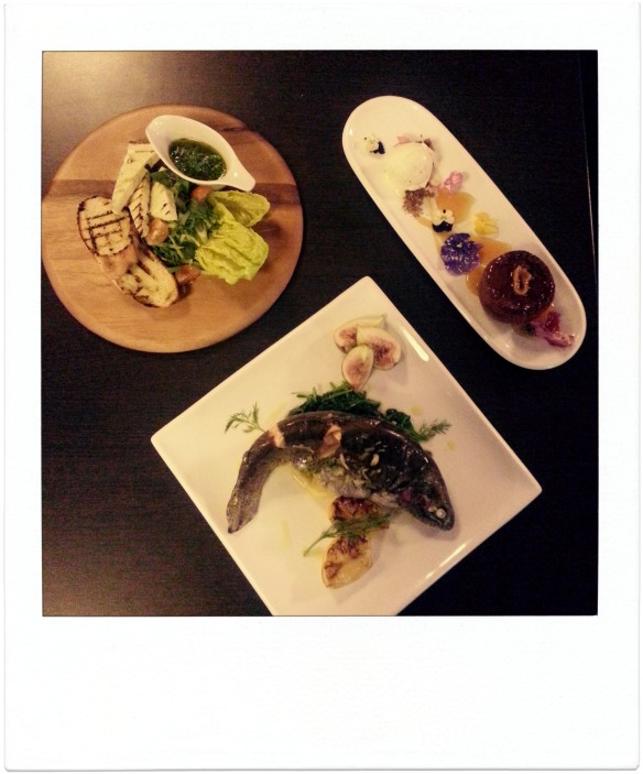Delicious Haloumi, Trout and Sticky Fig and Ginger Pudding